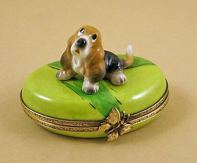 New French Limoges Trinket Box Cute Basset Hound Dog Puppy On  On Green Grass