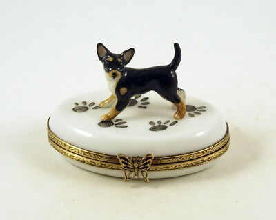 NEW FRENCH LIMOGES TRINKET BOX CUTE CHIHUAHUA DOG Puppy ON dog paw prints