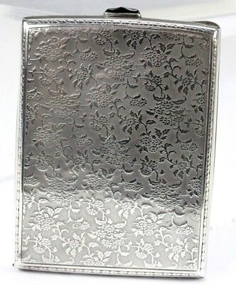 Art Deco Engine Turned Floral Pattern Sterling Silver Cigarette Card Case NR PBB