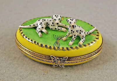 NEW FRENCH LIMOGES TRINKET BOX CUTE DALMATIAN DOG Puppies ON GREEN RUG