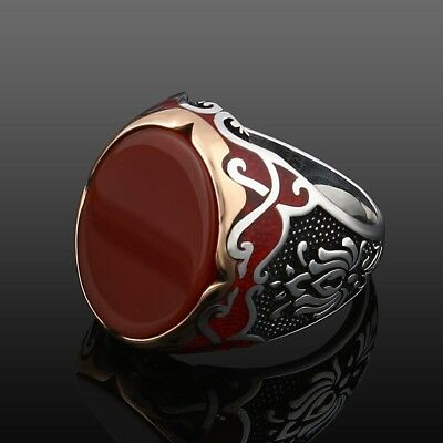 Elegant Handcraft Turkish 925 Sterling Silver Jewelry Ruby  Gemstone Men's  Ring