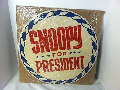 """Retro Hippie Snoopy For President 12"""" Pressed Paper Sign - Peanuts 1960's"""