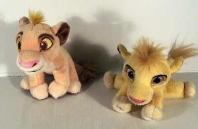 """2 x 6"""" SIMBA THE LION KING SOFRT TOY - 1 DISNEY STORE 1 WITH LAUGHING SOUND"""