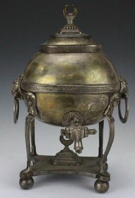 Antique English Lion Head Maiden Silver Plate Footed Hot Water Samovar NR SJS
