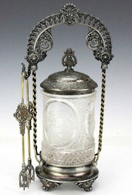 Antique Forbes Silver Plate & Glass Jar Ornate Pickle Castor w Pierced Tongs PHB