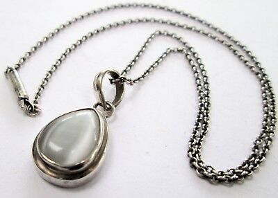 Fine vintage sterling silver & moonstone glass pendant + sterling silver chain