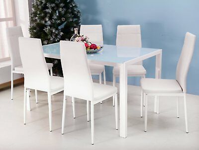 Merax 7PC Glass Top Dining Set 6 Person