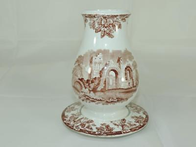 Antique 19th Century Classical Brown Transferware TOOTHBRUSH HOLDER w/ TRAY