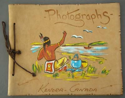 Original Vintage Hand-Painted Leather Guest Book Kenora Canada NOS