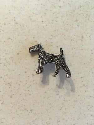 Vintage Marcasite  Airedale Irish Fox Welsh Terrier Silver Pin Brooch