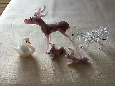 Vintage Miniature Glass Animal Collection Swan Deer Fawns Donkey