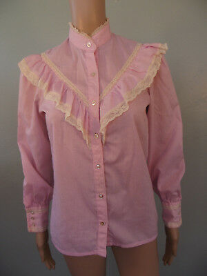 Vintage 1970s~WRANGLER~Pink Victorian Insp. Ruffled Bodice Western Blouse~Jrs 7