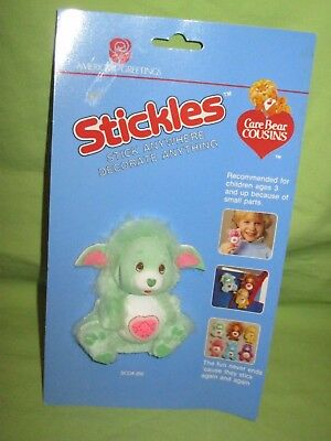 VINTAGE 1985 Care Bears Cousins STICKLES Furry 3D Sticker GENTLE HEART LAMB