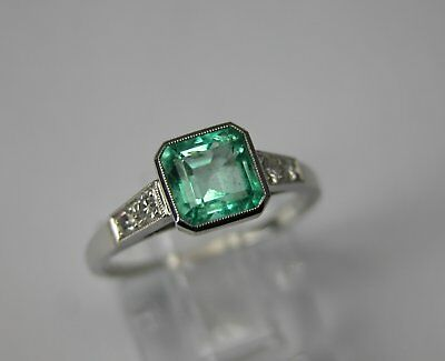 Antique Art Deco Platinum Diamond Colombian Emerald Engagement Ring 1930 Vintage