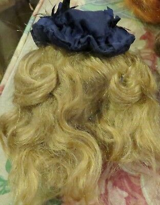 "c1760 Vintage 7"" Mohair Wig w/Lovely Bonnet for Antique Bisque Fashion Doll"