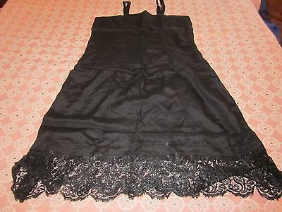 "Vintage Lace Trimmed Womens Black Full Length Slip Shift Chemise 38"" Bust"