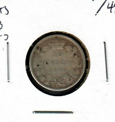 Canada 10 cents 1893 Flat top 3 VG
