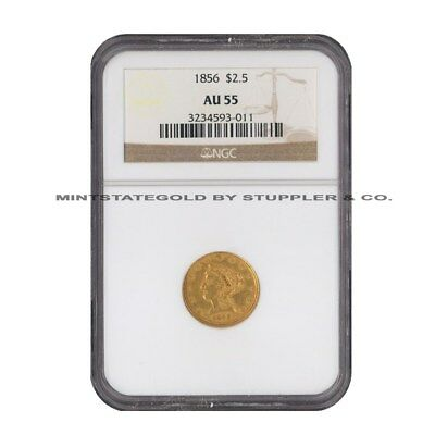 1856 $2.5 Gold Liberty Head NGC AU55 About Uncirculated Philadelphia Coin - 3011