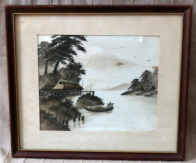 Esquisite Antique Japan Watercolor Painting On Silk With Embroidery Old