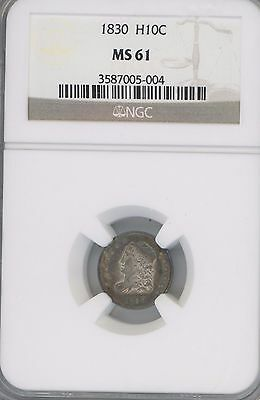 1830 Half Dime Coin  Graded Ms61 By Ngc ---Beauty---- Has Toning----