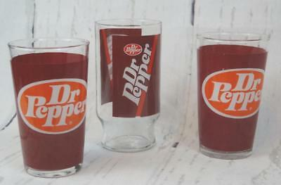Vintage DR PEPPER Soda Advertising Glass Tumblers
