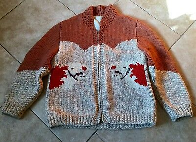 Vintage Native Pacific NW Cowichan Wool Sweater with Cows
