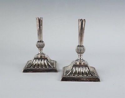 Fine Antique Pair Mappin & Webb Prince's Plate Silver SP Art Glass Vase Bases