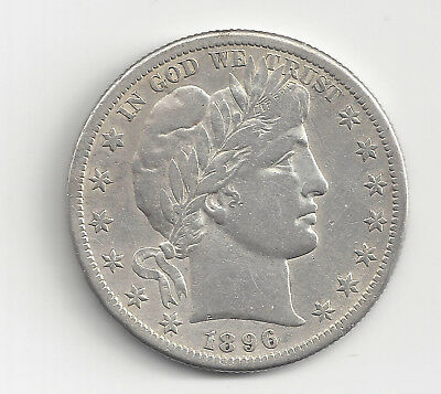 Super SCARCE 1896 S Barber Half Dollar VF/XF (Old Cleaning)