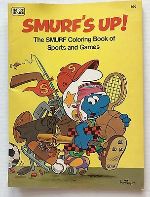 Vintage 1982 Smurfs Up Coloring Book Of Sports Games Happy House Unused