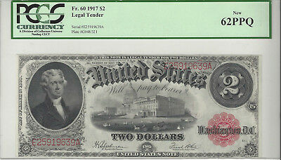 Fr. 60 $2, 1917 Legal Tender Large Size Currency, Certified PCGS 62 PPQ