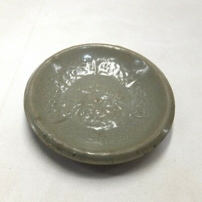 G054: REAL old Korean Goryeo Dynasty blue porcelain small plate with good relief