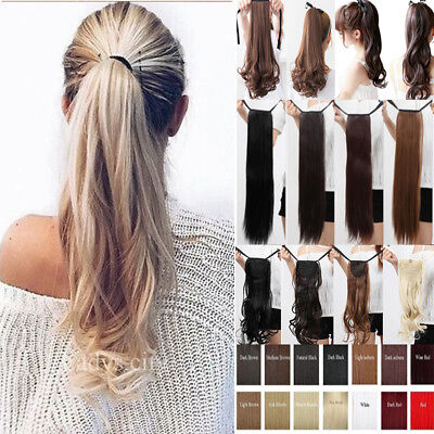 Real Thick Clip in Drawstring Ponytail Hair Extensions One Piece Straight Wave