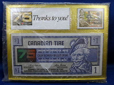 Canadian Tire 75th Ann Framed $1.00 Money Bill & Commerative Stamp - SEALED MINT