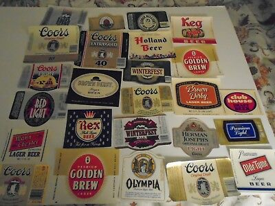 "Lot Of (25) Diff Vintage ""usa"" Western States Beer Labels -Mint"