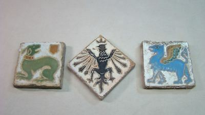 3 Vintage Clay Tiles Unglazed Phoenix Pegasus Dog Lot