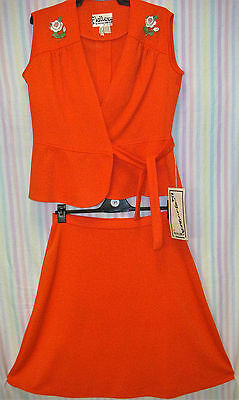 """VINTAGE 1970s RED SKIRT SET - NEW OLD STOCK! - SIZE 16 - """"FLATTERY"""""""