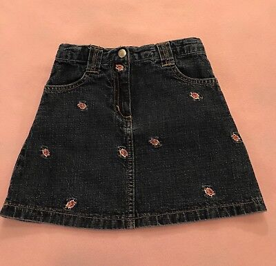 Gymboree Toddler Girls Denim Jean Skirt Size 4 Blue with small flowers