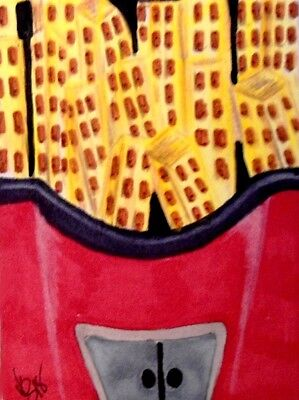 """Aceo  Original  ATC  """" FRENCH FRY CITY   """"    pencil / ink"""