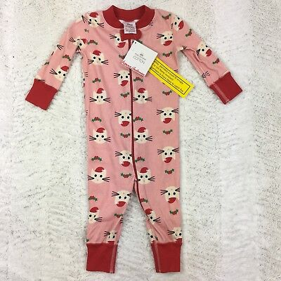 01e831413 NWT HANNA ANDERSSON Organic Baby Sleeper Kitty Claus Pink Holiday Sz ...