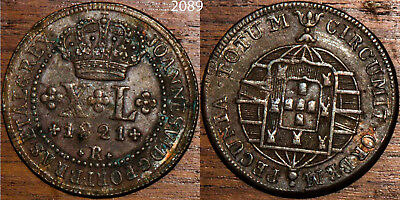 1821 Brazil Brasil 40 Reis Very Fine+VF+ Large Bronze Copper Coin #2089