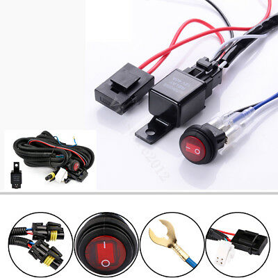 12V 40A Bar Wiring Harness LED HID Fog Spot Work Driving ON/OFF Switch Relay Kit