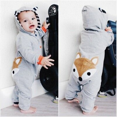 AU Infant Baby Boy Girl Winter Warm Romper Jumpsuit Bodysuit Kid Hooded Outfit