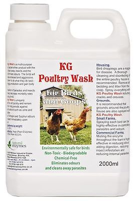 KG Poultry Wash For Birds & Coup 2000ml Cleans Away Parasites, Lice & Mites