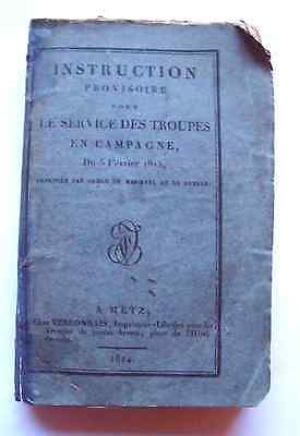 Rare French book, 1824, Instructions for troops on field service, 3 battle plans