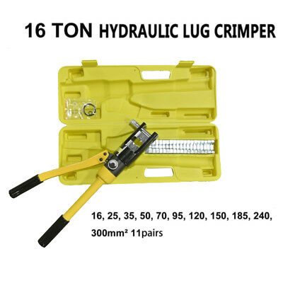 16 Ton Hydraulic Wire Cable Terminal Crimper Crimping Tool Pliers Set w/ 11 Dies