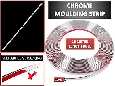 15m Silver Chrome Self Adhesive Car Door Edge Styling Moulding Trim Strip 8mm