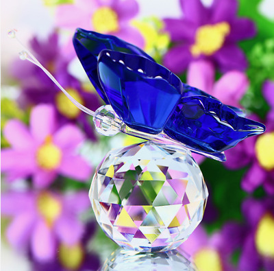 H&D TOP Blue Crystal Butterfly Figurine Paperweight Wedding Favor Collectibles