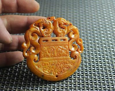 Old Chinese Hand-carved longfeng old jade 2 side hollow out Pendant  N004