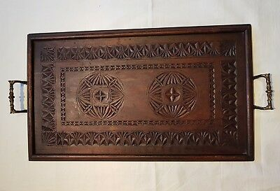 Victorian Ornate Chip Carved Butlers Serving Tray
