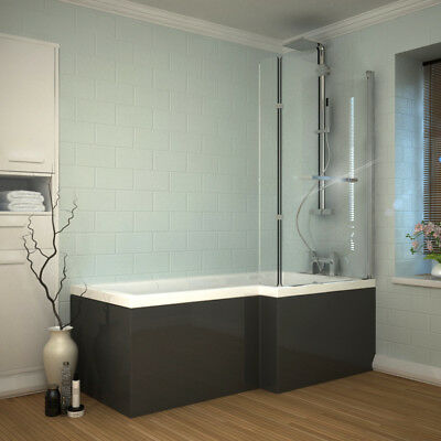 Bathroom Patello L ShapeD Shower Bath Suite with Panel and Glass Screen Grey RH